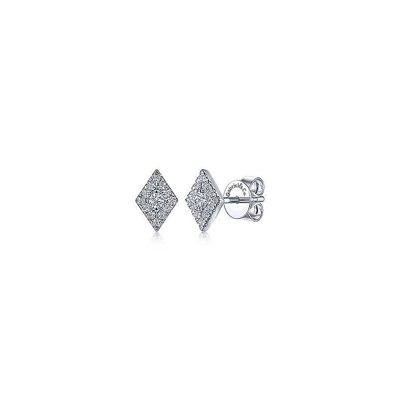 Gabriel Fashion 14K White Gold Diamond Rhombus Stud Earrings
