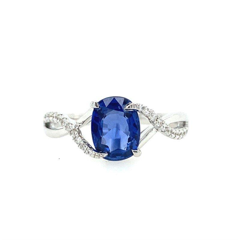 Lasker Gemstone Blue Sapphire and Diamond Ring