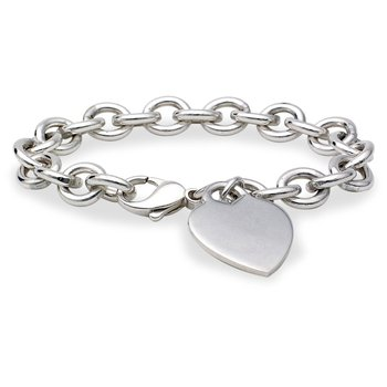 Rolo Chain Bracelet with Heart Charm
