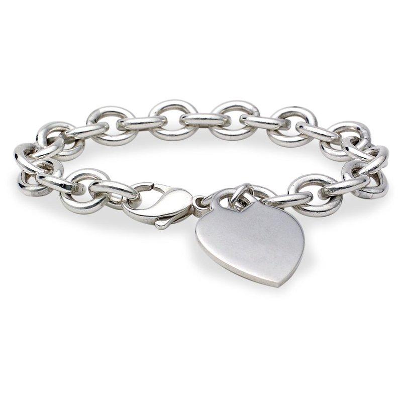 Lasker Signature Rolo Chain Bracelet with Heart Charm
