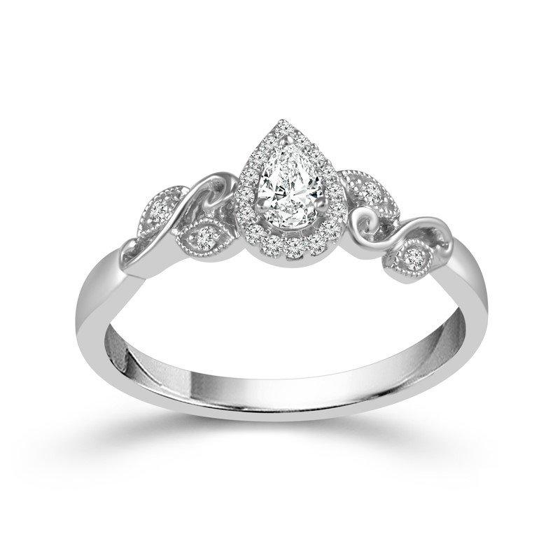 Lasker Bridal Vintage Floral Pear Shape Halo