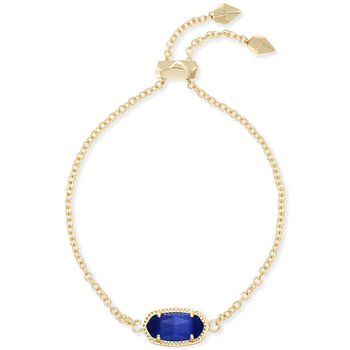 Elaina Adjustable Chain Bracelet With Cobalt Cats Eye