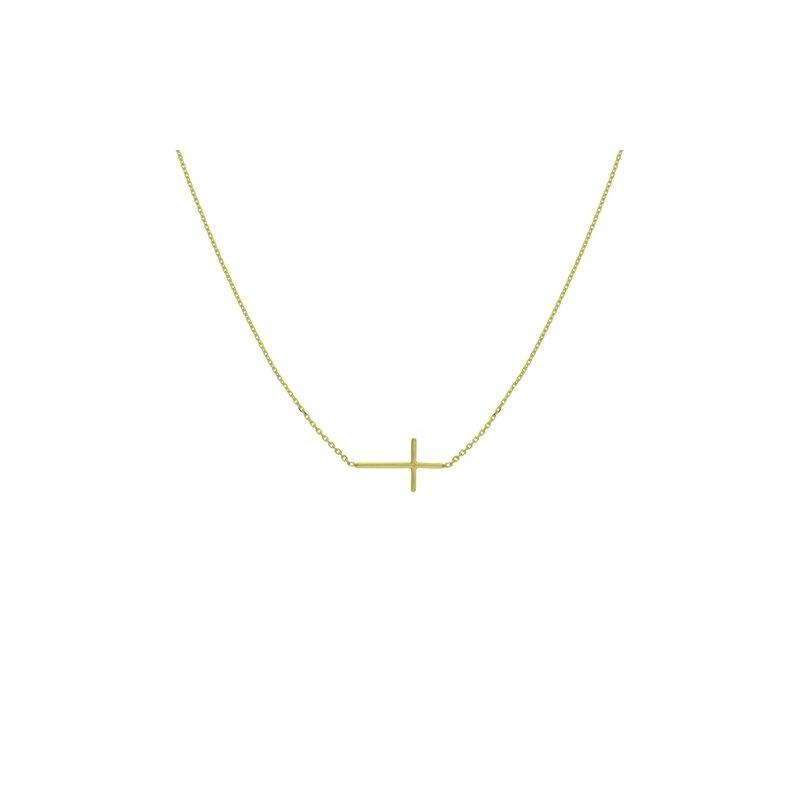 Lasker Gold Fashion East-West Cross Necklace