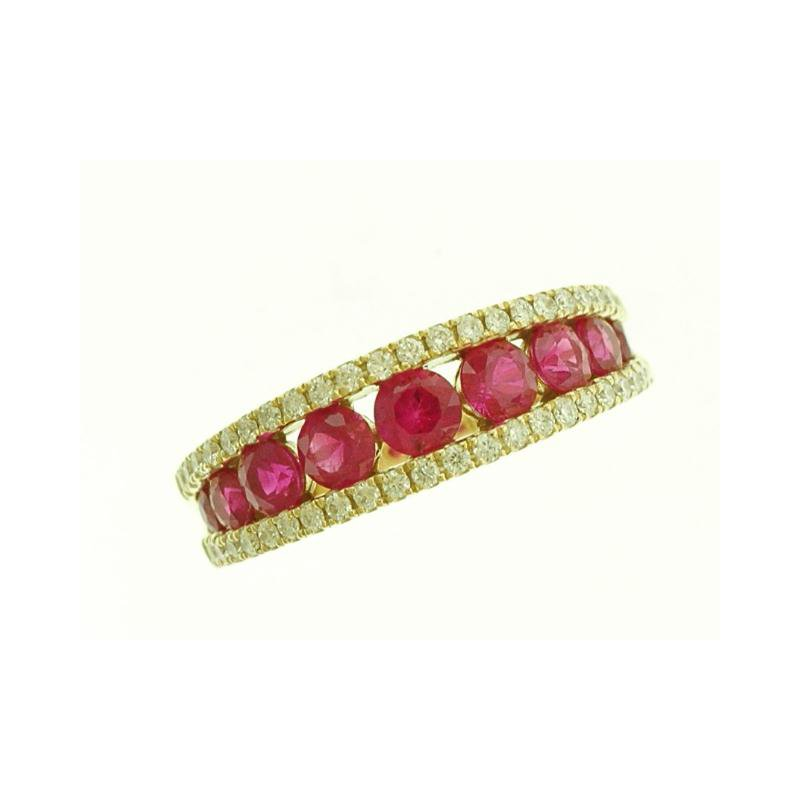 Lasker Gemstone Ruby and Diamond Anniversary Ring