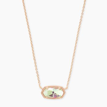 Elisa Rose Pendant Necklace In Dichroic Glass