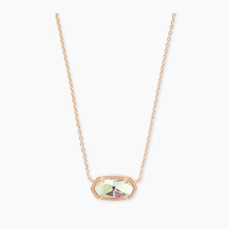 Kendra Scott Elisa Rose Pendant Necklace In Dichroic Glass