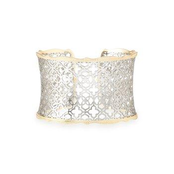Candice Gold Cuff Bracelet In Silver Filigree Mix