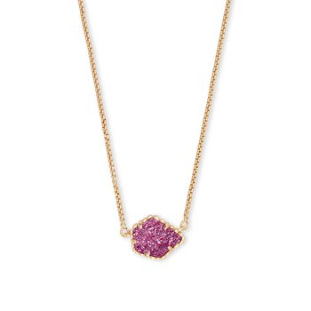 Tess Gold Pendant Necklace In Deep Fuchsia Drusy