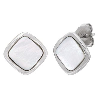Sterling Silver Square Mother of Pearl Earrings