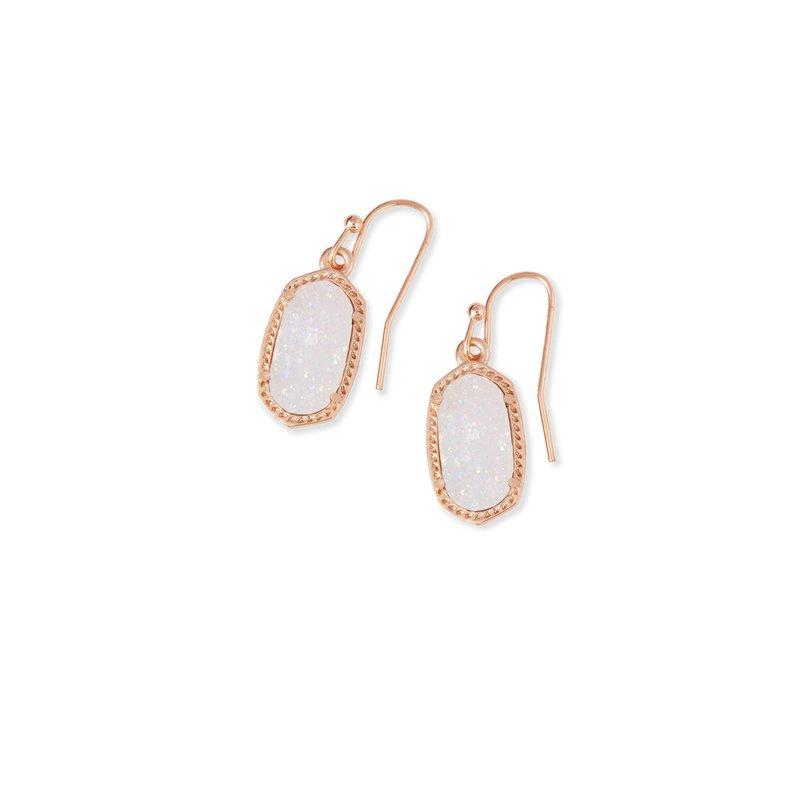 Kendra Scott Lee Rose Gold Drop Earrings In Iridescent Drusy