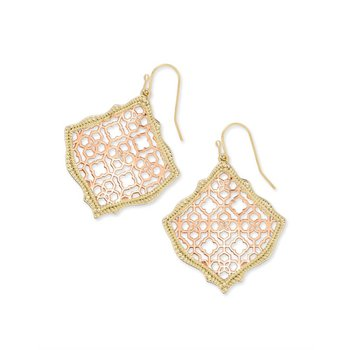 Kirsten Gold Drop Earrings In Rose Gold Filigree Mix