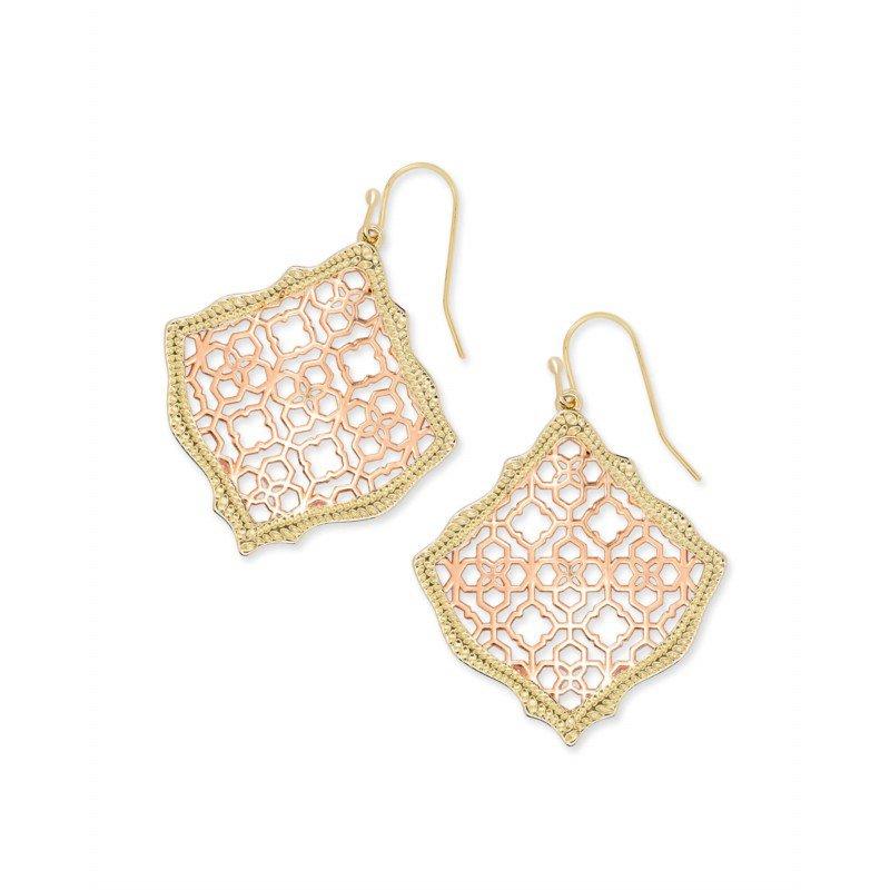 Kendra Scott Kirsten Gold Drop Earrings In Rose Gold Filigree Mix