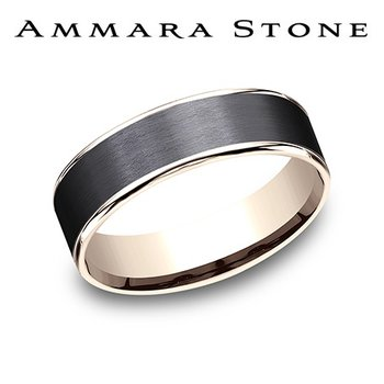 Amara Stone - 14KT Rose & Black Titanium Band