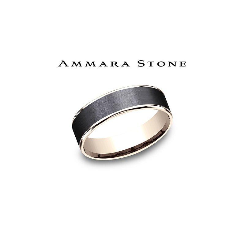 Lasker Men's Amara Stone - 14KT Rose & Black Titanium Band