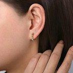 Gabriel Fashion 14KT Yellow Gold 15MM Grommet Pattern Huggie Earrings