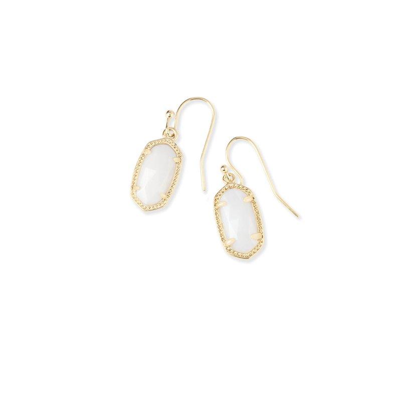 Kendra Scott Lee Gold Drop Earrings In White Pearl
