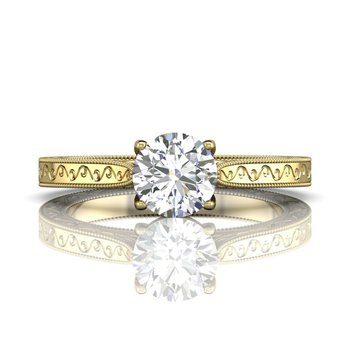 Solitaire Engagement Ring Mounting with Side Detail
