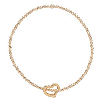 Classic Love Charm Gold Filled  2mm Bead Bracelet With Love Charm
