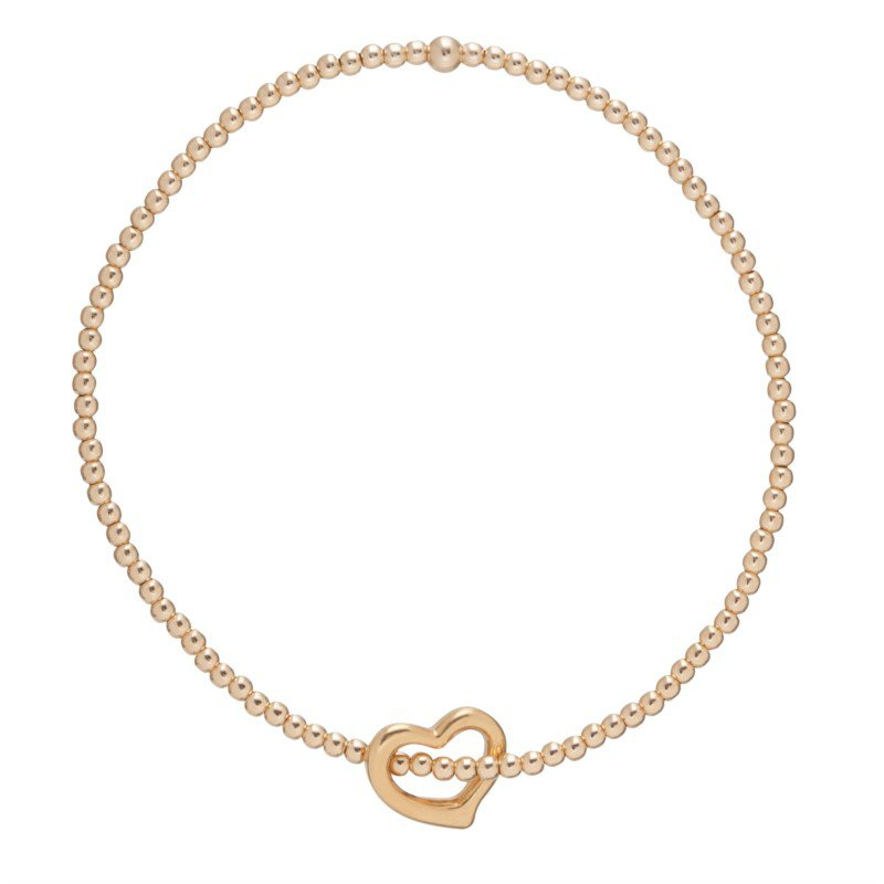 enewton Classic Love Charm Gold Filled  2mm Bead Bracelet With Love Charm
