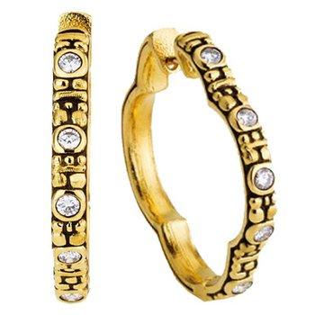 Quatrefoil Diamond huggie hoop earrings