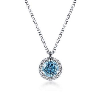 14K White Gold Round Blue Topaz and Diamond Halo Pendant Necklace