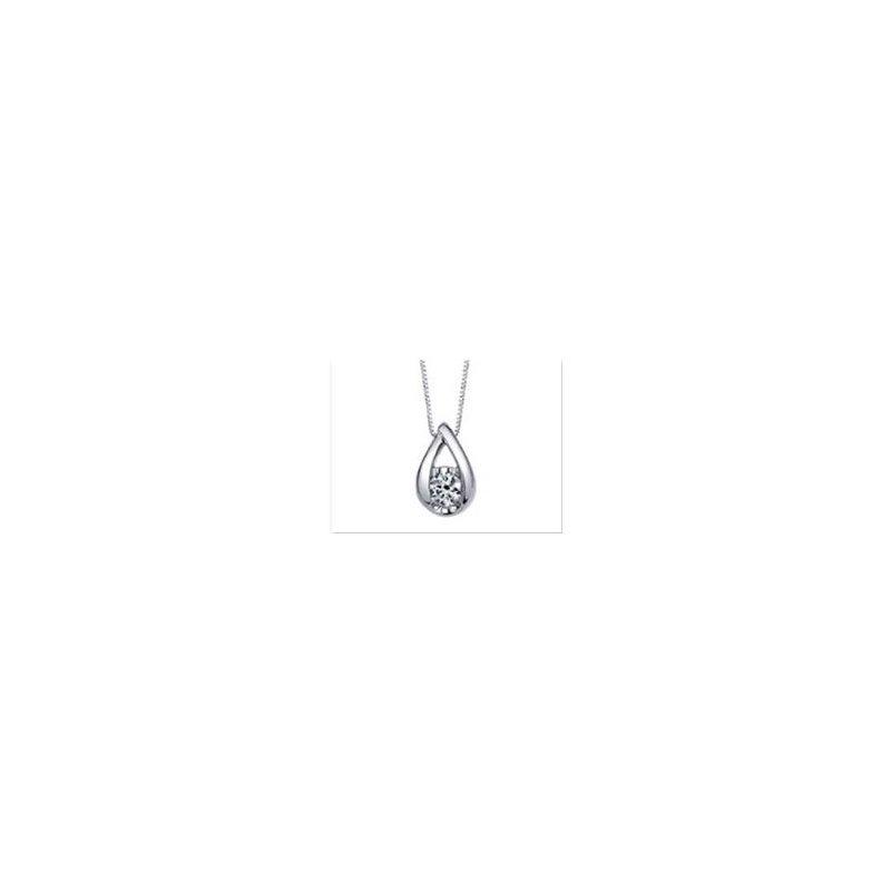 Lasker Diamond Fashion Weave Solitaire Pendant .10cttw