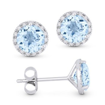 Center of my World Aquamarine Halo Earrings