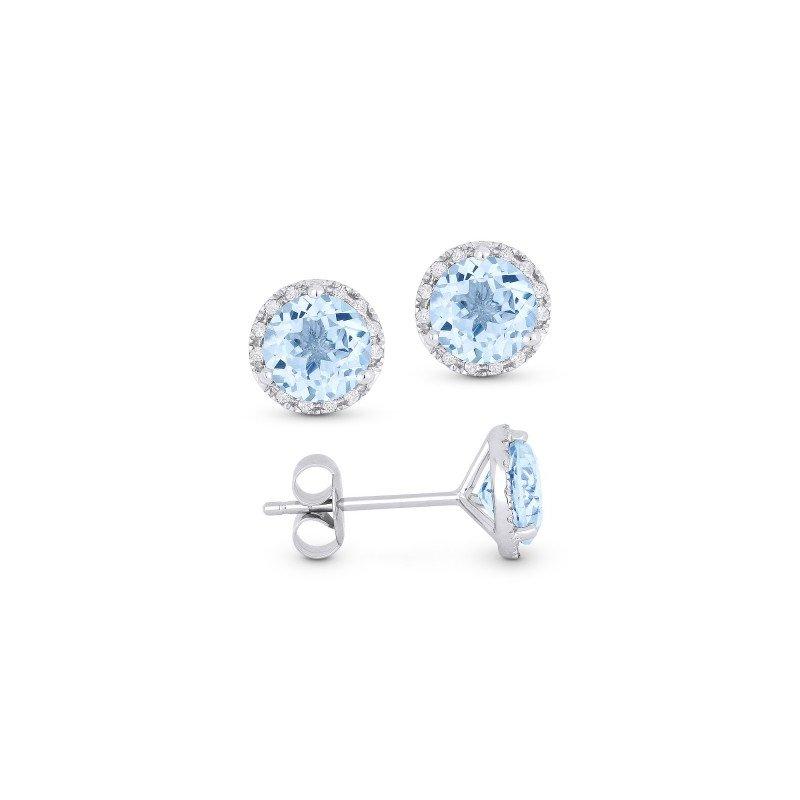 Lasker Gemstone Center of my World Aquamarine Halo Earrings