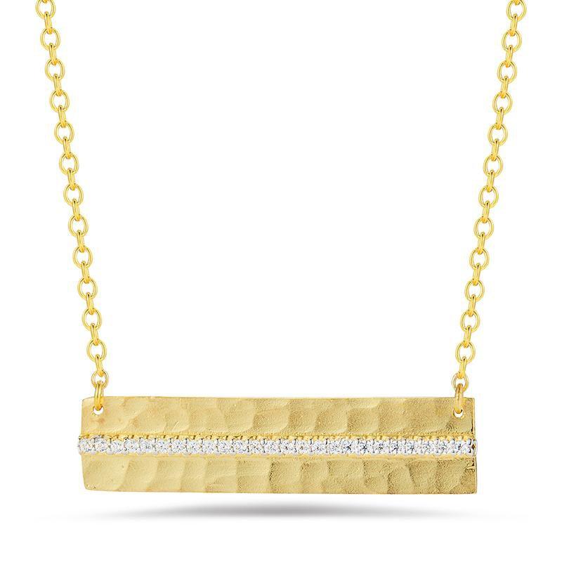 Lasker Gold Fashion Hammered East to West Pendant