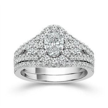 Oval Halo Ring with Split-Shank