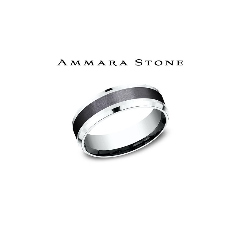 Lasker Men's AMMARA STONE 14KW & BLACK TITANIUM