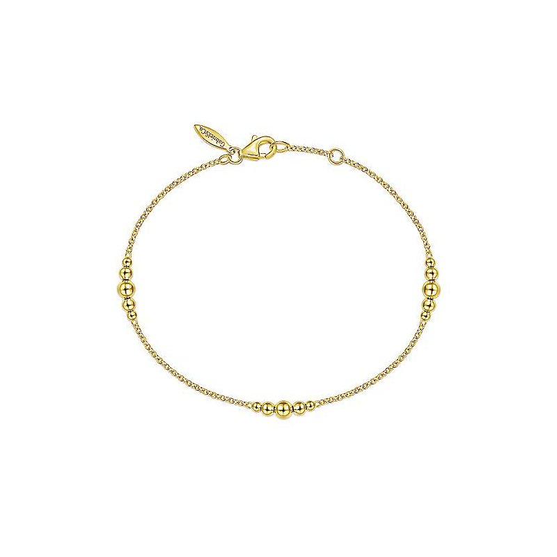 Gabriel Fashion 14K Yellow Gold Chain Bracelet with Graduating Bead Stations