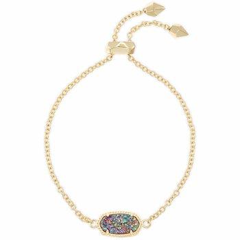 Elaina Gold Adjustable Chain Bracelet In Multicolor Drusy