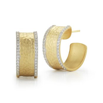 Hammered Huggie Post Earrings with Diamonds
