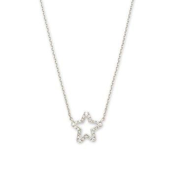 Kendra Scott Jae Star Crystal Pendant Necklace Rhodium White Crystal