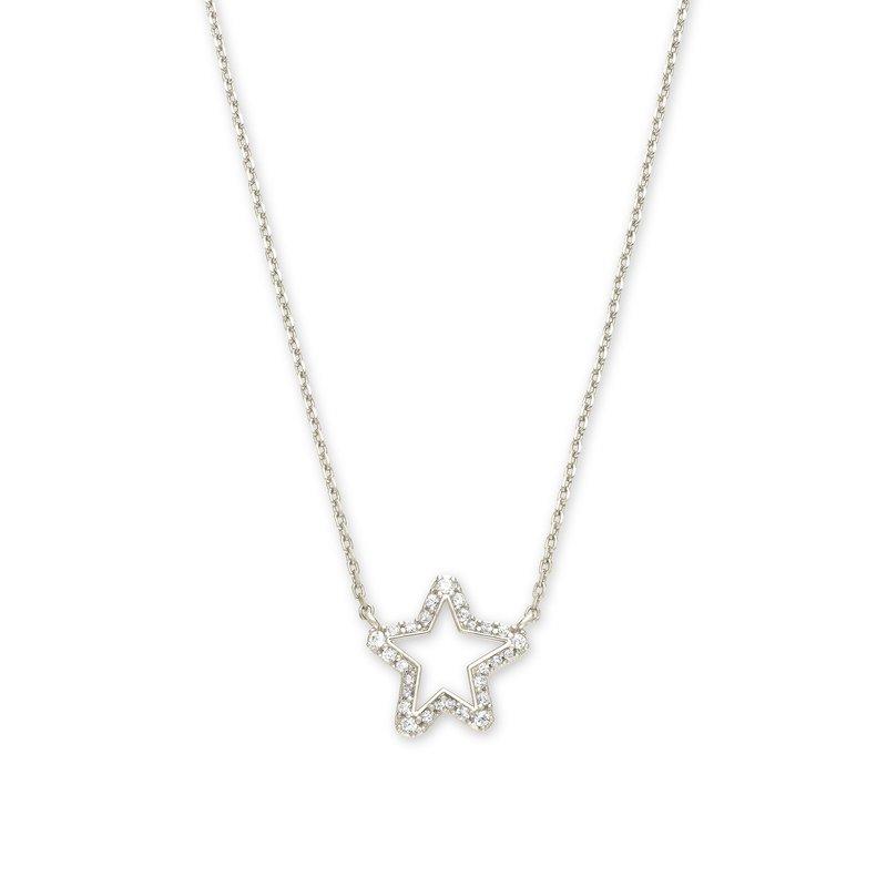Kendra Scott Kendra Scott Jae Star Crystal Pendant Necklace Rhodium White Crystal