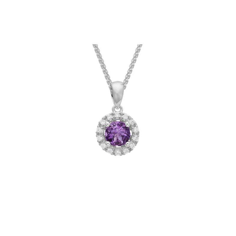 Lasker Gemstone Amethyst & Diamond Halo Pendant