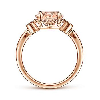 Horizontal Oval Morganite Ring