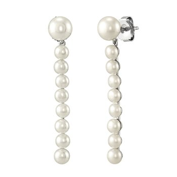 Freshwater Pearl Sterling Silver Bar Drop Earrings
