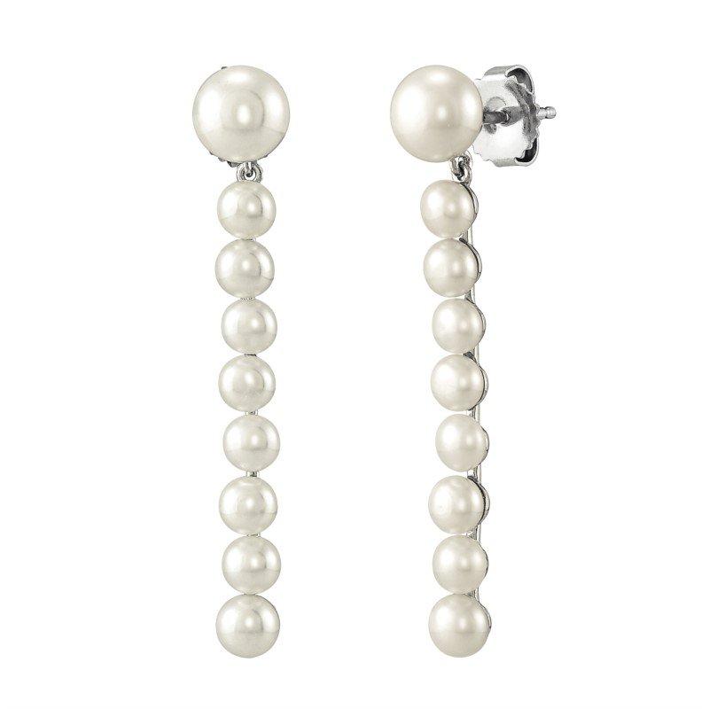 Lasker Pearl Fashion Freshwater Pearl Sterling Silver Bar Drop Earrings