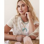 Kendra Scott Rebecca Gold Large Long Pendant Necklace In Variegated Turquoise Magnesite