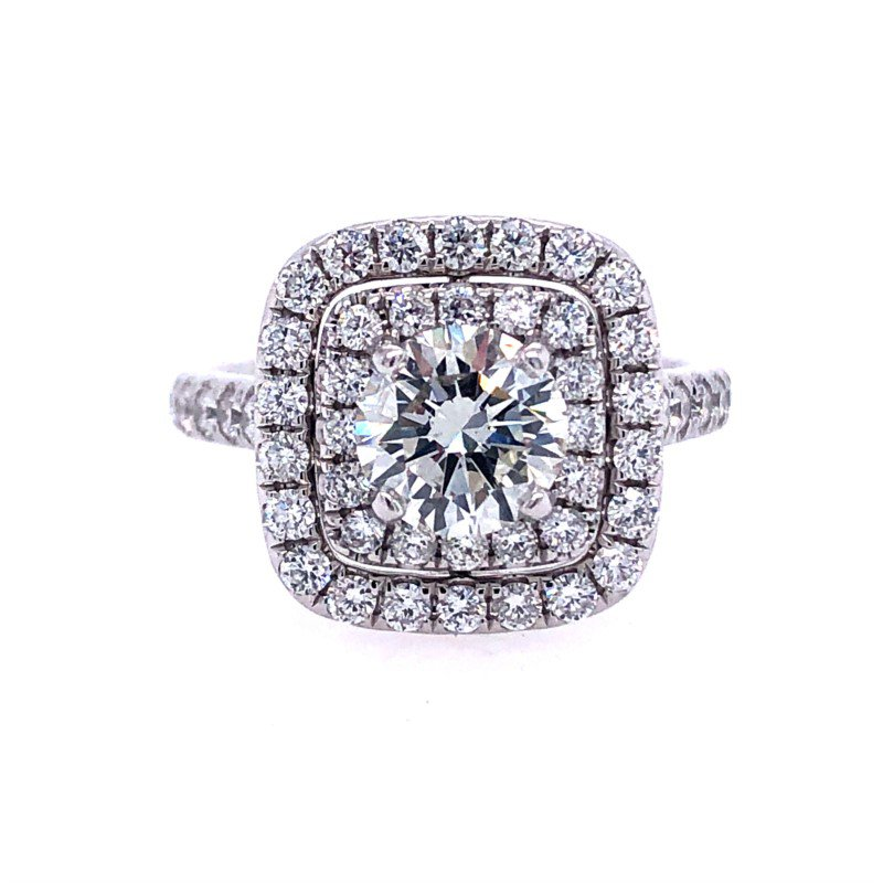 Lasker Bridal Stunning Celeste Double Halo Ring - 1.03ct Center Diamond