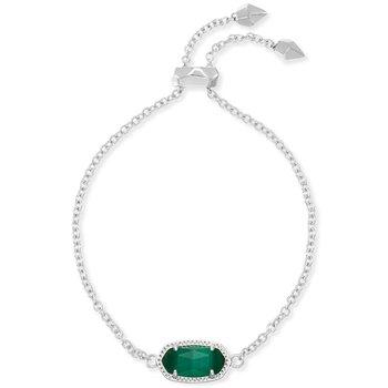 Elaina Adjustable Chain Bracelet In Emerald Cats Eye