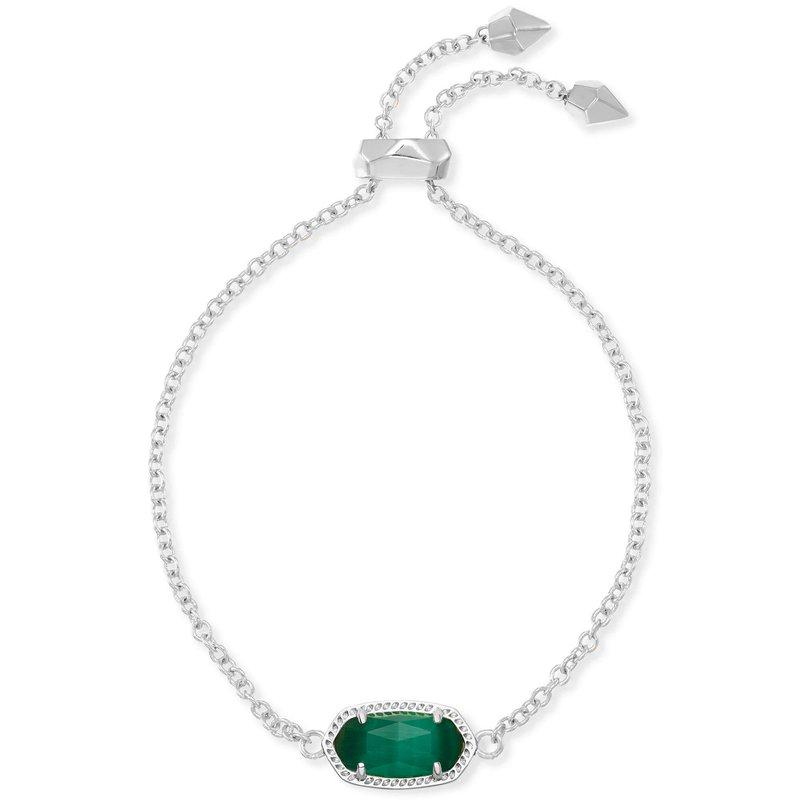 Kendra Scott Elaina Adjustable Chain Bracelet In Emerald Cats Eye