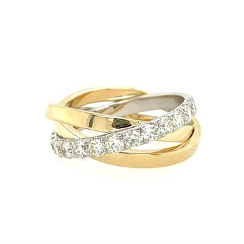 Wide Crossover Diamond Band