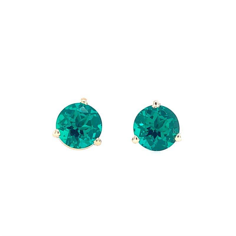 Lasker Gemstone Chatham Emerald Studs