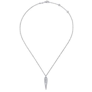 14K White Gold Open Teardrop Diamond Pendant Necklace