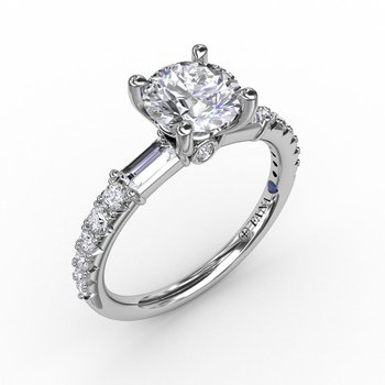 Contemporary Style Engagement Ring Mounting with Baguette Diamonds