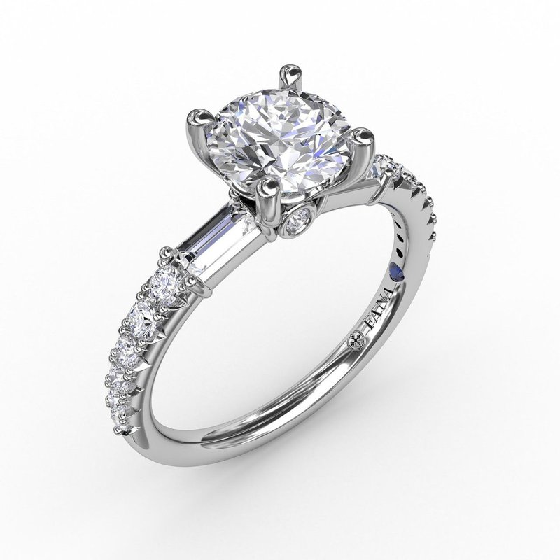 Fana Contemporary Style Engagement Ring Mounting with Baguette Diamonds