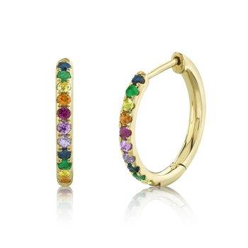 Rainbow Gemstone Hoop Earrings